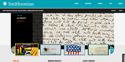 The Transcription Center homepage, showing Oscar Bluemner papers from the Smithsonian's Archives of American Art