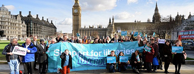 Speak Up for Libraries lobby authors and supporters at Houses of Parliament, February 9