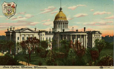 Postcard showing Wisconsin's second State Capitol building