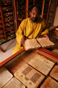 Abdel Kader Haidara in the Mamma Haidara Commemorative Library in Timbuktu.
