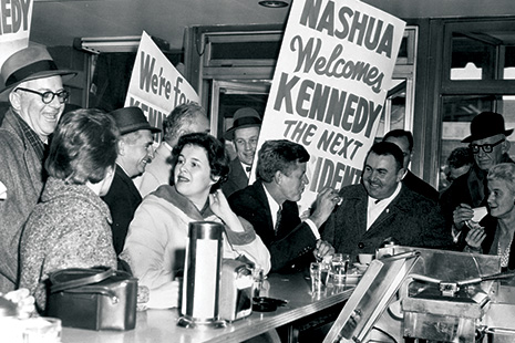Future President John F. Kennedy at a Nashua diner during the 1960 race. Photo: The New Hampshire Institute of Politics and Political LIbrary at St. Anselm College