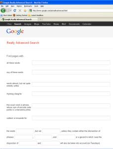 Google's Advance Search option.