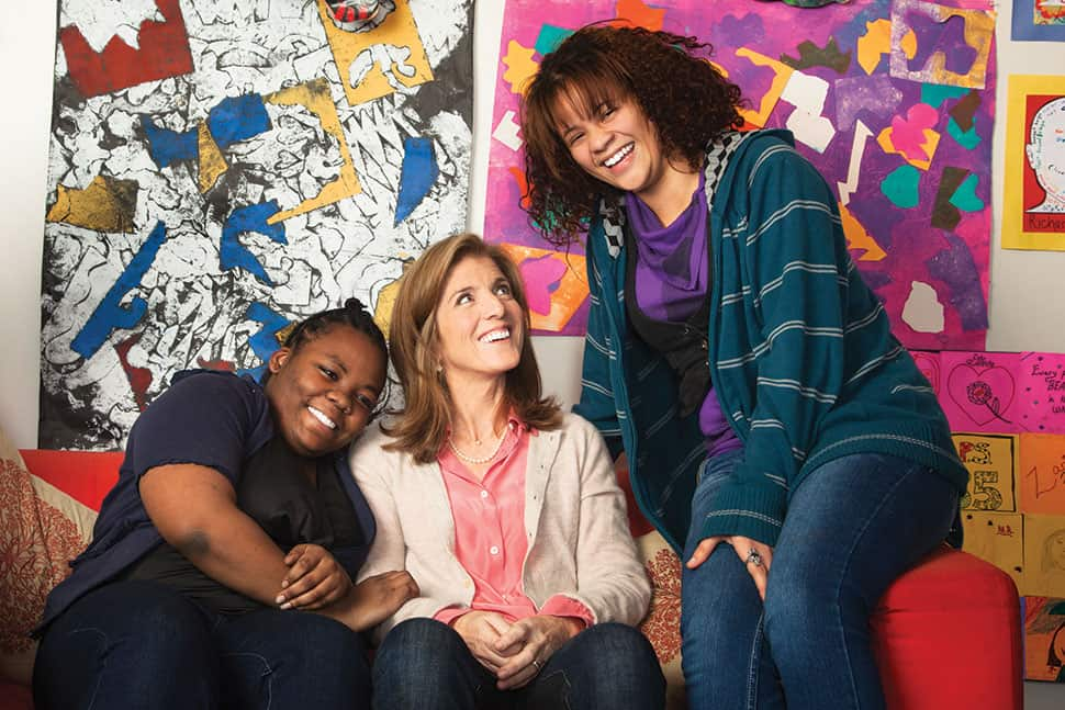 Caroline Kennedy (center)