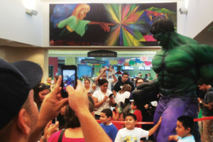 The unveiling of Northlake (Ill.) Public Library District's Hulk statue in 2013 drew fans who wanted a photo-op with the superhero.