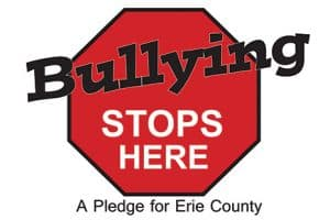This logo is used by Buffalo and Erie County (N.Y.) Public Library to brand its anti-bullying banners and posters for easy recognition by the public.