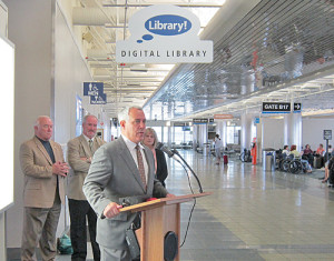 Boise (Idaho) Mayor David H. Bieter at the opening of the Boise Airport library facility on September 10, 2014.