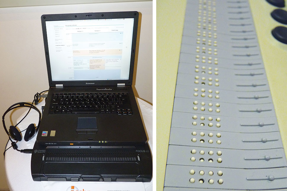 Two different types of refreshable Braille display laptop readers demonstrated at the 2011 Universal Learning Design Conference, Brno, Czech Republic.