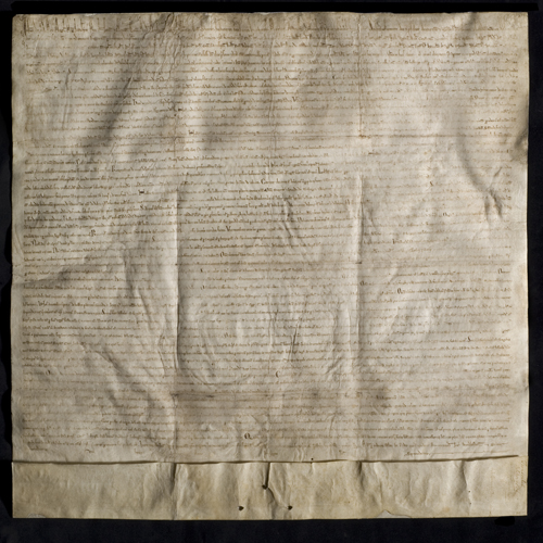 The Lincoln Cathedral Magna Carta, 1215. Courtesy of Lincoln Cathedral