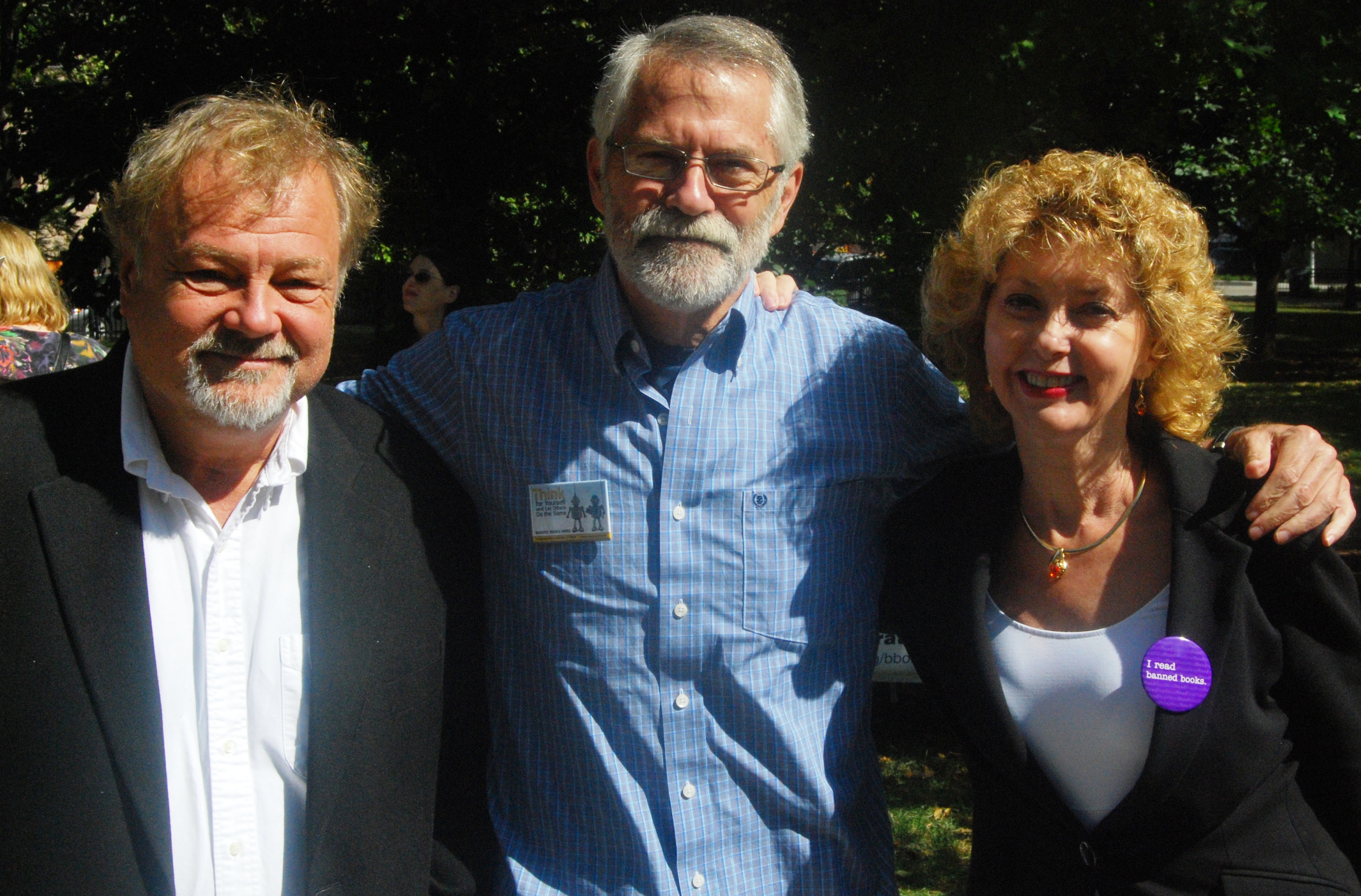Chris Crutcher with ALA Executive Director Keith Michael Fiels and President Roberta Stevens
