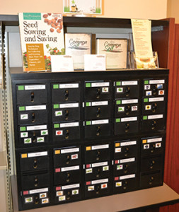 The Common Soil Seed Library in Nebraska organizes its seeds by how difficult they are to save: Green ones are easiest, while the red ones are recommended for experienced seed savers.