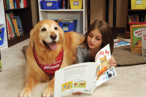 A girl reads to Minnie from K9 Reading Buddies of the North Shore.
