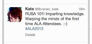 RUSA member Kate Kosturski's mid-session tweet, sent out shortly before she won a bottle of wine in the raffle.