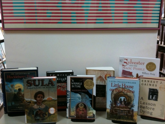 ALA's Headquarters Library in Chicago creates a display for staffers to select from for the in-house Virtual Read-Out.