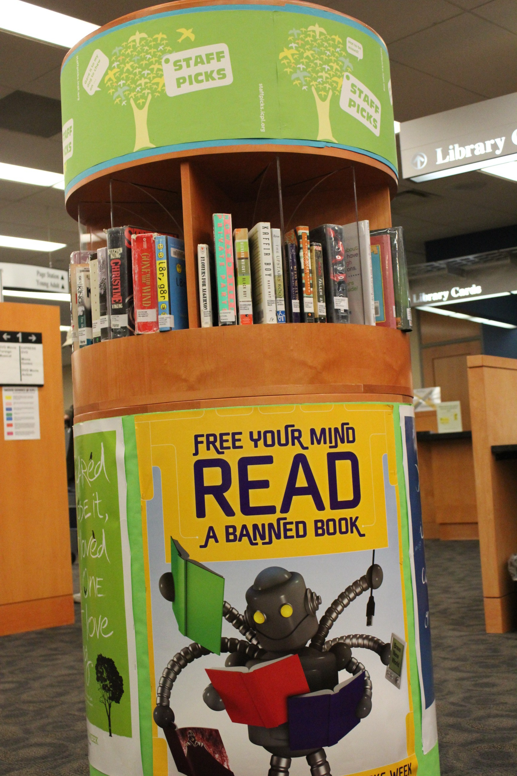 Iowa City (Iowa) Public Library uses theme posters for its circular display.