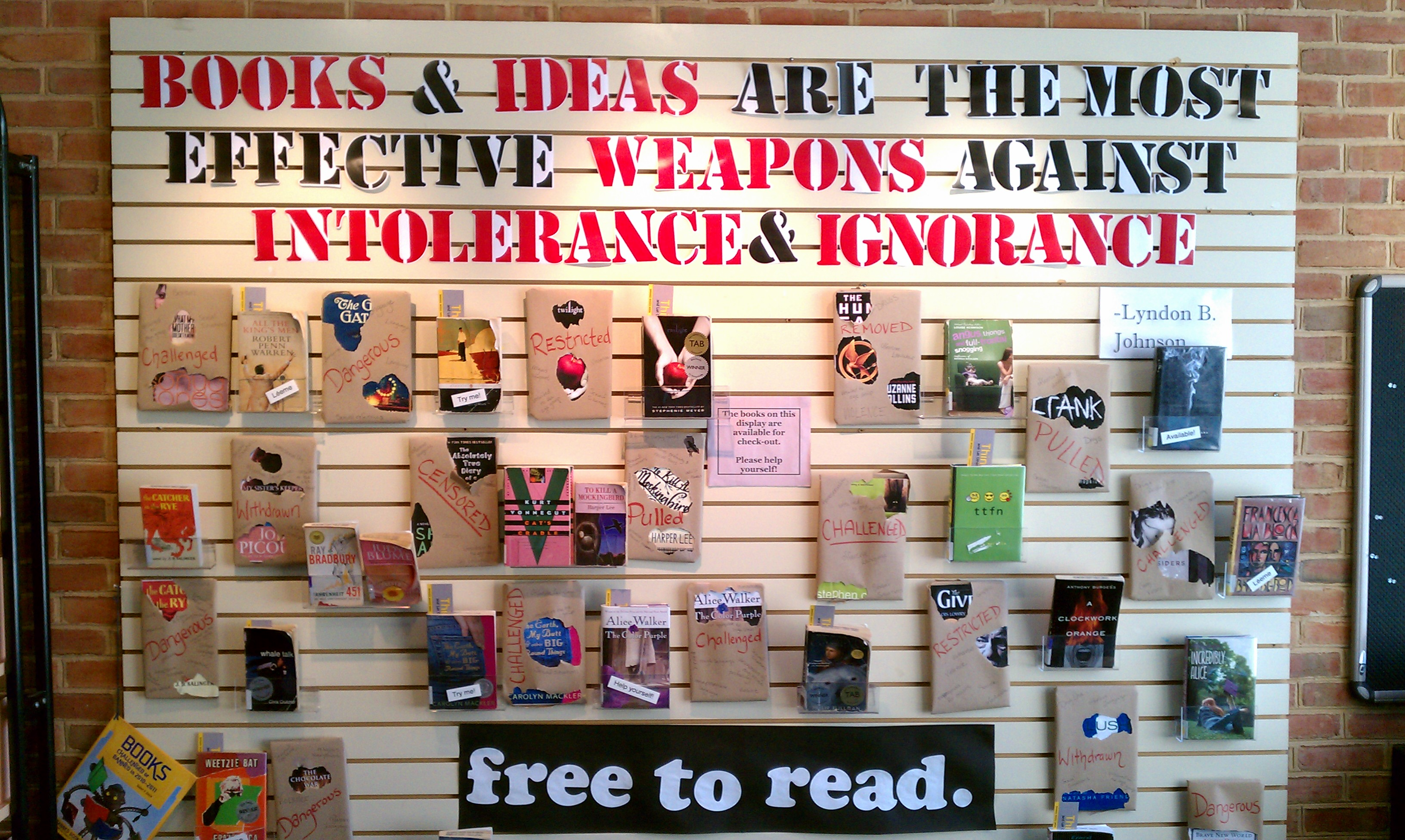 A youth services display at Arlington (Va. ) Public Library conveys a message to patrons.