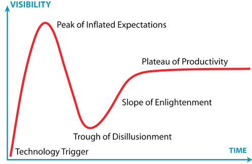 After reveling in the Peak of Inflated Expectations, can the library community dig itself out of the Trough of Disillusionment? The Gartner Hype Cycle. Diagram by Jeremy Kemp, used CC BY-SA 3.0