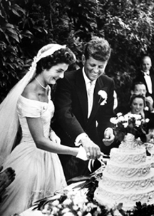 John F. Kennedy and Jacqueline Kennedy on their wedding day.