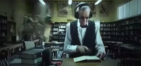 Screenshot of Stan Lee in his librarian cameo in The Amazing Spider-Man