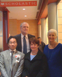 At Scholastic: Alan Inouye (left), Bob Wolven, Maureen Sullivan, and Barbara Stripling.