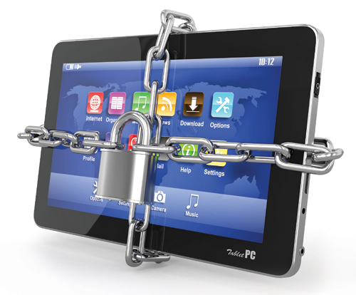 tablet with padlock