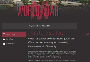 "Screenshot of the World War M website, warning visitors that ""A virus has evolved and is spreading quickly."""