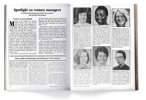 "An article titled ""Spotlight on Women Managers"" that was featured in the January 1985 issue of American Libraries."