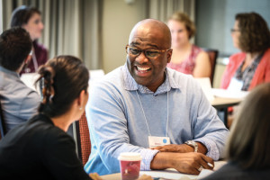 Kenneth Wayne Thompson, director of Davenport (Iowa) Public Library, participates in small-group work at an ALA-Harwood Institute training in Atlanta in October.