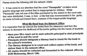 Newly revealed email details Chicago Public School's Persepolis decision.