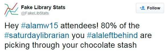 Hey #alamw15 attendees! 80% of the #saturdaylibrarian you #alaleftbehind are picking through your chocolate stash