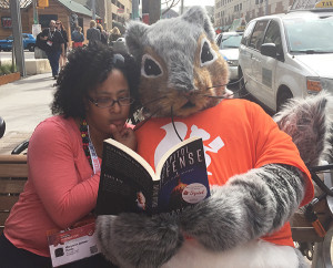 The author and a squirrel take a break from South by Southwest.