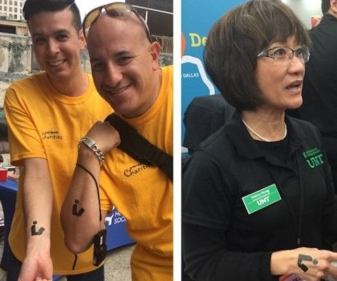 People on the streets of Austin, Texas, and on the SxSW exhibit hall floor show their support for libraries with their new lib*interactive tattoos.