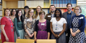 EPA librarians and interns. Front, from left: Jane Bethel, Jessica Dixon, Lisa Becksford, Anna Loewenthal, Ebony McDonald, library director Susan Forbes. Back, from left: Catherine Field, Aurora Cobb, Jessica Yankowski, Eric Brownell, and Anthony Holderied.