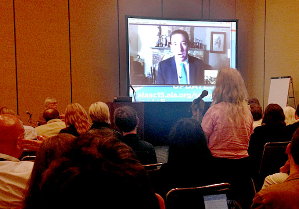 Glenn Greenwald speaks via Skype at the 2015 ALA Annual Conference and Exhibition.