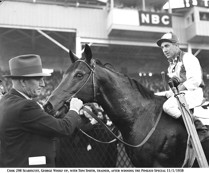 Seabiscuit with jockey George Woolf and trainer Tom Smith after winning the Pimlico Special, November 1, 1938. (Photo: Keeneland Library)