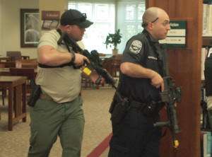 Scott County (Ky.) conducted a simulation of an active shooter event in their library, producing a video. (Photo: Georgetown [Ky.] Police Department)