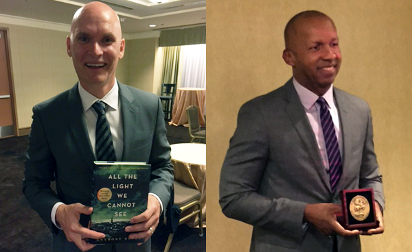 Anthony Doerr (left) with his book. Bryan Stevenson