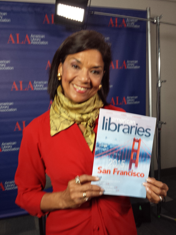 Sonia Manzano, who played Maria on Sesame Street for 44 years and won 15 Emmy Awards for writing, at the 2015 ALA Annual Conference and Exhibition.