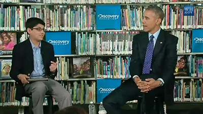 President Barack Obama announces the Open Ebooks Initiative at Anacostia Library in Washington, D.C., on April 30, 2015.