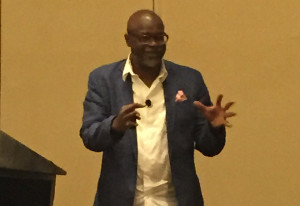 Tukufu Zuberi giving the NCAAL opening keynote in St. Louis, Missouri. (Photo credit: Willie Miller)