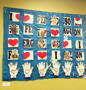 <i>Hands Up, Don't Shoot Quilt</i> by Heidi Lung on the wall of the Ferguson Municipal Public Library.