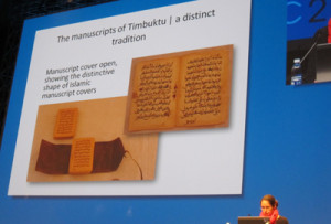 Mary Minicka, head of preservation for the Western Cape Archives and Records Service, shows examples of the Timbuktu manuscripts.