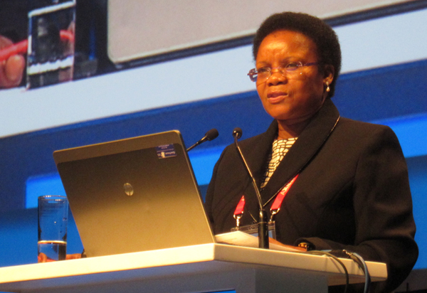 National Librarian of South Africa Rocky Ralebipi-Simela speaks at the IFLA President's Program at the World Library and Information Congress in Cape Town, South Africa, on August 17.