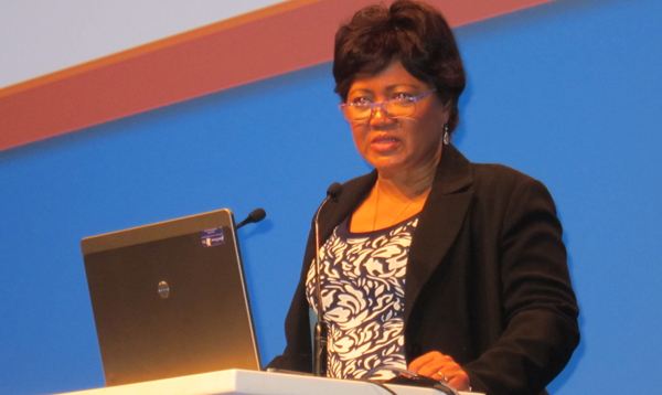 Alinah Kelo Segobye, former deputy executive director of the Human Sciences Research Council in South Africa, speaking at IFLA's World Library and Information Congress in Cape Town, August 18, 2015.