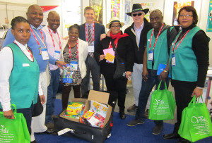 (left to right) Sthembile Mkhize (NWPLS), Anele Moko (head librarian, Tswaing Local Municipality), Ian Segone (NWPLS), Desiree Mtshweni (NWPLS), Michael Dowling (director, ALA International Relations Office), Senovia Welman (in Paul's former hat), Paul Hover (in his new South African hat), Ernest Bampoe (treasurer, LIASA North West Branch), Joanne Arendse (Cape Peninsula University of Technology and visiting librarian, Virginia Tech).