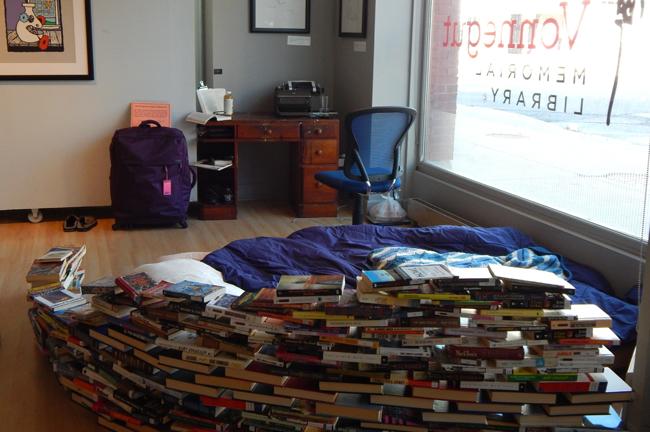 """The Banned Books Week """"prison"""" inside the Kurt Vonnegut Memorial Library. Photo: Kurt Vonnegut Memorial Library."""