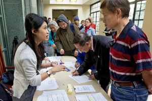 Los Angeles Public Library's Central branch, partnering with Asian Americans Advancing Justice – Los Angeles, provides free assistance filling out Form N-400, Application for Naturalization. The May 2014 event drew 120 attendees and resulted in 90 applications completed. Photo: Los Angeles Public Library