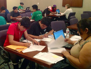 "Los Angeles Public Library's Central branch hosts a DACA renewal clinic in partnership with the Mayor's Office and Council of Mexican Federations in August 2014. The event resulted in 60 applications processed. <span class=""credit"">Photo: Los Angeles Public Library</span>"