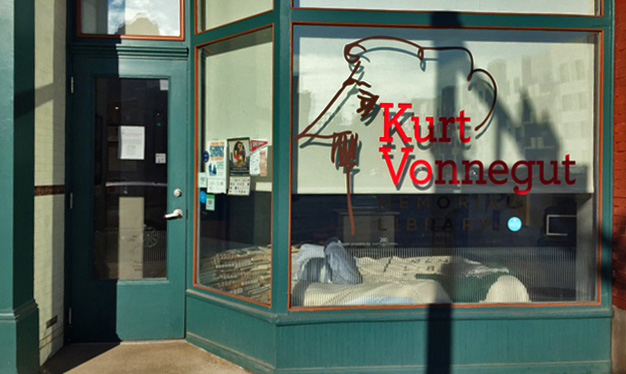 """The window of the Kurt Vonnegut Memorial Library in Indianapolis, where librarian Rick Provine will spend Banned Books Week """"locked in"""" 24 hours a day."""