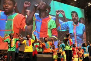 The Mzansi Youth Choir of Soweto performs at the opening session of the IFLA World Library and Information Congress in Cape Town. Photo: George M. Eberhart