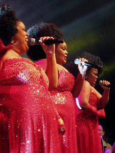 """The IFLA Congress always provides a """"cultural evening"""" that offers a musical, culinary, and choreographic taste of the host country. The musical highlight was a powerful performance by 3 Tons of Fun, Cape Town's most popular all-female group, who belted out American soul classics as well as South African pop tunes. Photo: George M. Eberhart"""